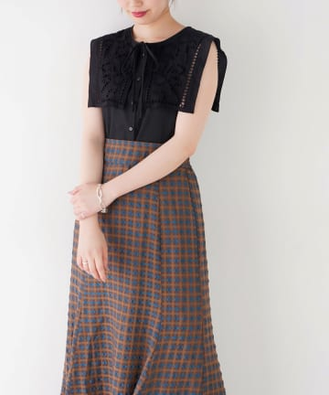 NICE CLAUP OUTLET(ナイスクラップ アウトレット) 【natural couture】WEB限定切替ビッグ衿ノースリブラウス