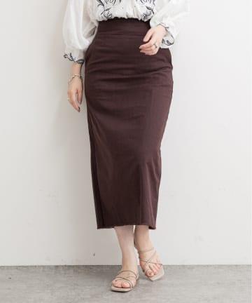 NICE CLAUP OUTLET(ナイスクラップ アウトレット) 【natural couture】綿麻フリンジナロースカート