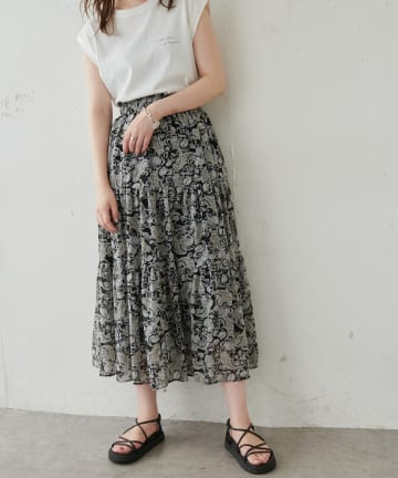 NICE CLAUP OUTLET(ナイスクラップ アウトレット) 【natural couture】エスニック柄落ち感ティアードスカート