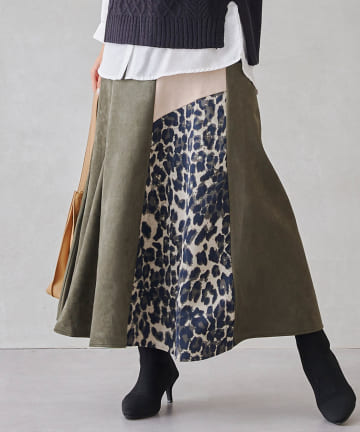 Chez toi(シェトワ) 【WEB限定】スエードボンディング×ヒョウ柄配色スカート