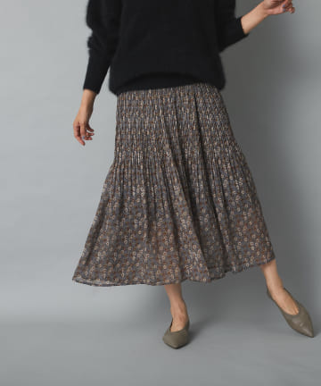 OUTLET premium(アウトレット プレミアム) 【しなやかで上品な印象】シフォン楊柳プリーツスカート