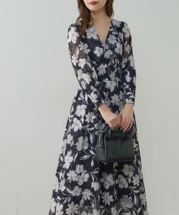natural couture(ナチュラルクチュール) オリエンタル花柄ジャガードワンピース