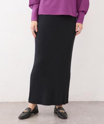 BONbazaar(ボンバザール) リブニットバックスリットスカート