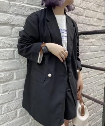 one after another NICE CLAUP(ワンアフターアナザー ナイスクラップ) 【SET UPで着られる】パールボタンジャケット