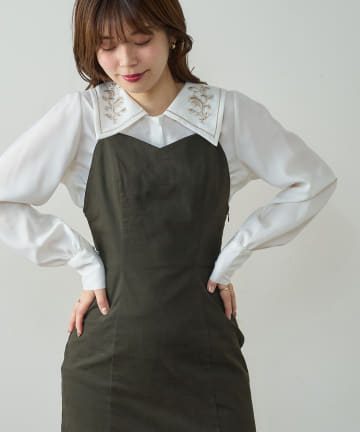 natural couture(ナチュラルクチュール) 配色刺繍衿レトロブラウス