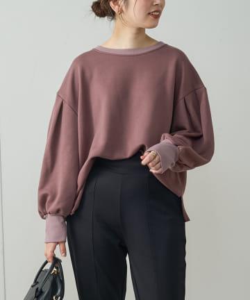 natural couture(ナチュラルクチュール) ボリュームスリーブ配色裏毛プルオーバー