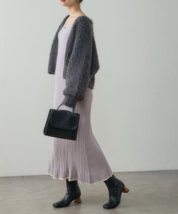 natural couture(ナチュラルクチュール) 【WEB限定】ワイドリブフレアニットワンピース