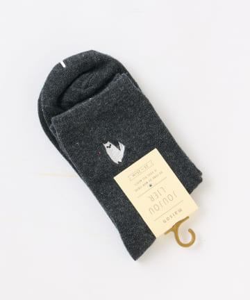 NICE CLAUP OUTLET(ナイスクラップ アウトレット) ネコ刺繍ショートソックス