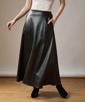 OUVRAGE CLASSE(ウヴラージュクラス) エコレザーフレアロングスカート