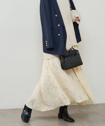 natural couture(ナチュラルクチュール) 【WEB限定】長さ変えれるフラワージャガードスカート