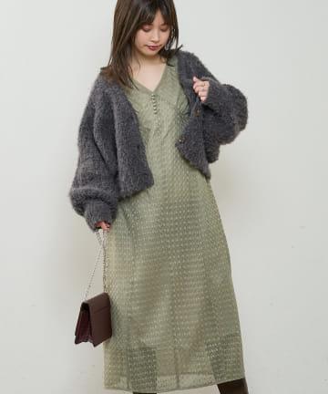 natural couture(ナチュラルクチュール) 【WEB限定】ぽこぽこレースレトロワンピース