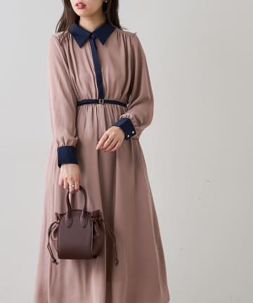 natural couture(ナチュラルクチュール) 【WEB限定】配色襟付きレトロワンピース
