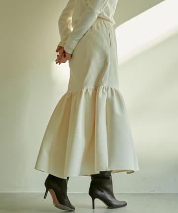 GALLARDAGALANTE(ガリャルダガランテ) 【Drawing Numbers】パフストライプ切替ギャザースカート
