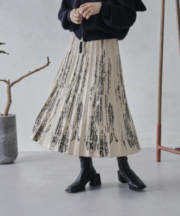 mona Belinda(モナ ベリンダ) 《WEB限定》ぼかし柄プリーツニットスカート