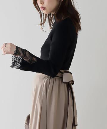 natural couture(ナチュラルクチュール) 袖口レースもちもちリブタートル