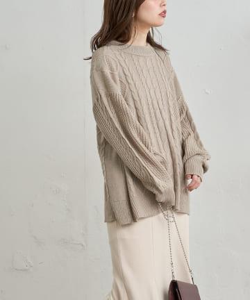 natural couture(ナチュラルクチュール) バックシャンケーブル柄ニット