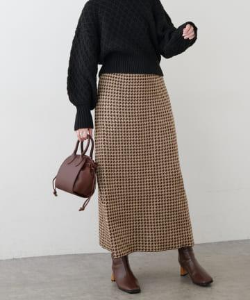 natural couture(ナチュラルクチュール) 千鳥格子ダブルジャガードニットスカート