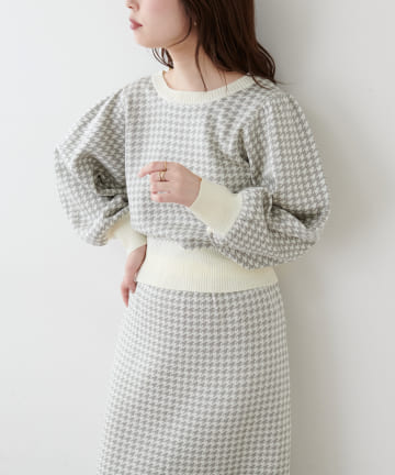 natural couture(ナチュラルクチュール) 千鳥格子ダブルジャガードニット