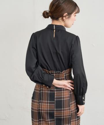 natural couture(ナチュラルクチュール) 袖口パールノット結びボータイブラウス