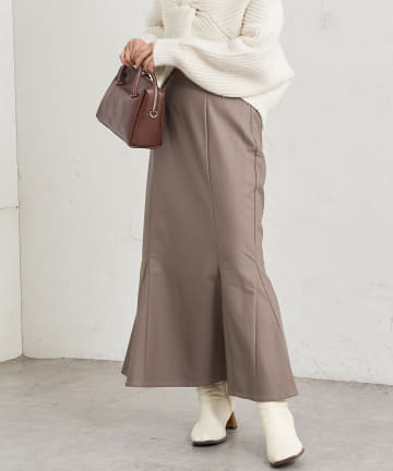 natural couture(ナチュラルクチュール) 【限定カラー有り】合皮&ビッグチェックハイウエストマーメイドスカートSサイズ