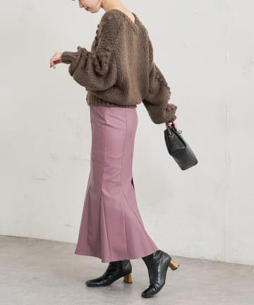 natural couture(ナチュラルクチュール) 【動画・WEB限定】合皮&ビッグチェックハイウエストマーメイドスカート Mサイズ