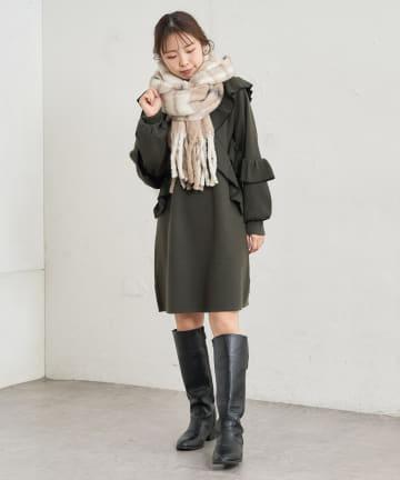 natural couture(ナチュラルクチュール) 【WEB限定】ラッフルフリルニットチュニックワンピース