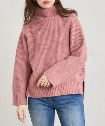 natural couture(ナチュラルクチュール) 袖下釦デザインゆるシルエットニット