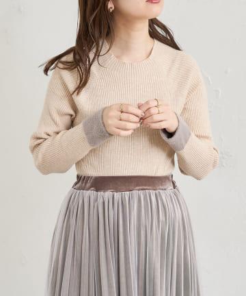natural couture(ナチュラルクチュール) 【WEB限定カラー有り】袖口シャギープチハイリブニット
