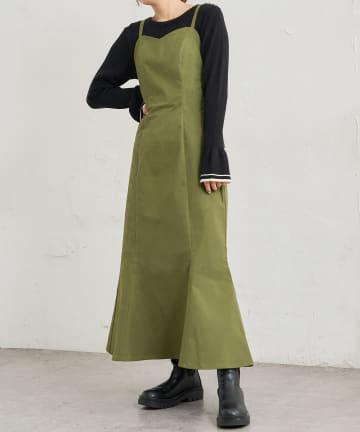 natural couture(ナチュラルクチュール) 【WEB限定カラー有り】ハイウエストマーメイドジャンバースカート Sサイズ
