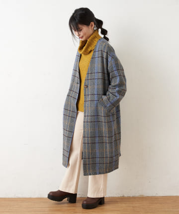 OLIVE des OLIVE OUTLET(オリーブ・デ・オリーブ アウトレット) Checked Colorless Overcoat