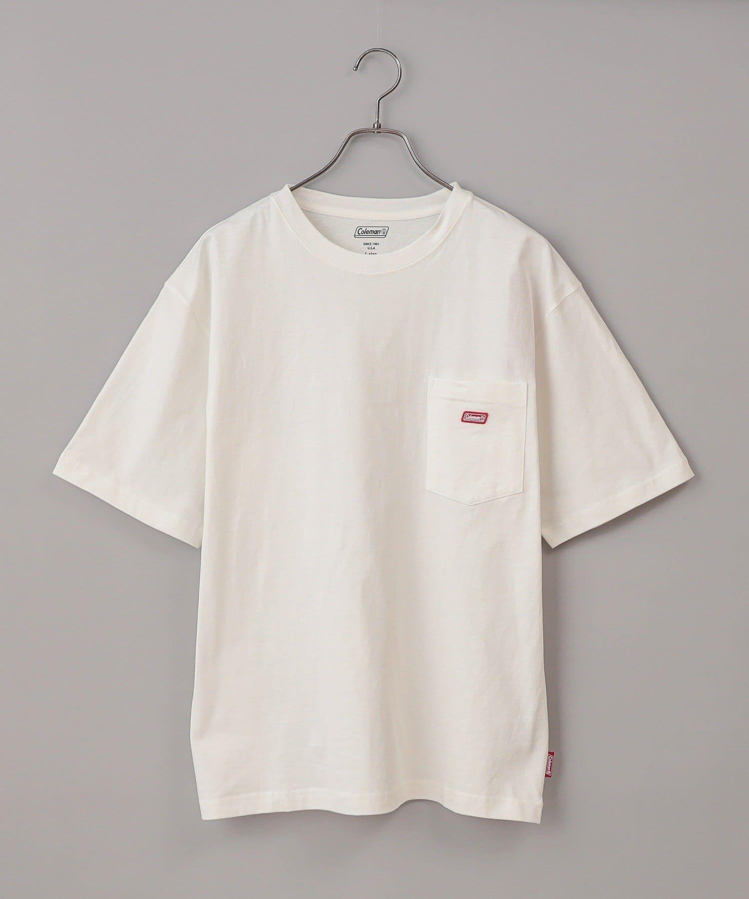 CIAOPANIC(チャオパニック) メンズ 【Coleman/コールマン】ワンポイントロゴクルーネック半袖Tシャツ ホワイト