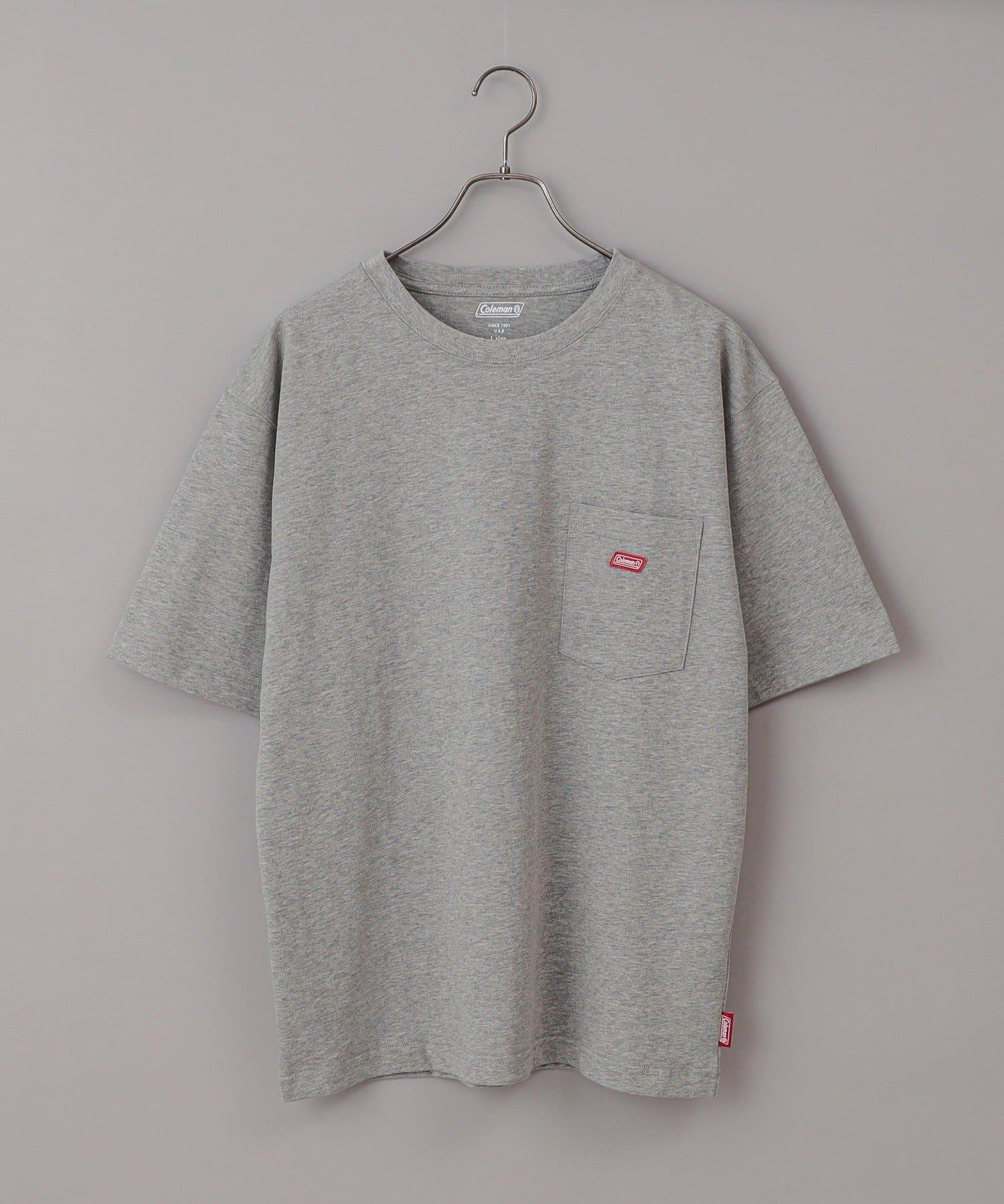 CIAOPANIC(チャオパニック) メンズ 【Coleman/コールマン】ワンポイントロゴクルーネック半袖Tシャツ グレー