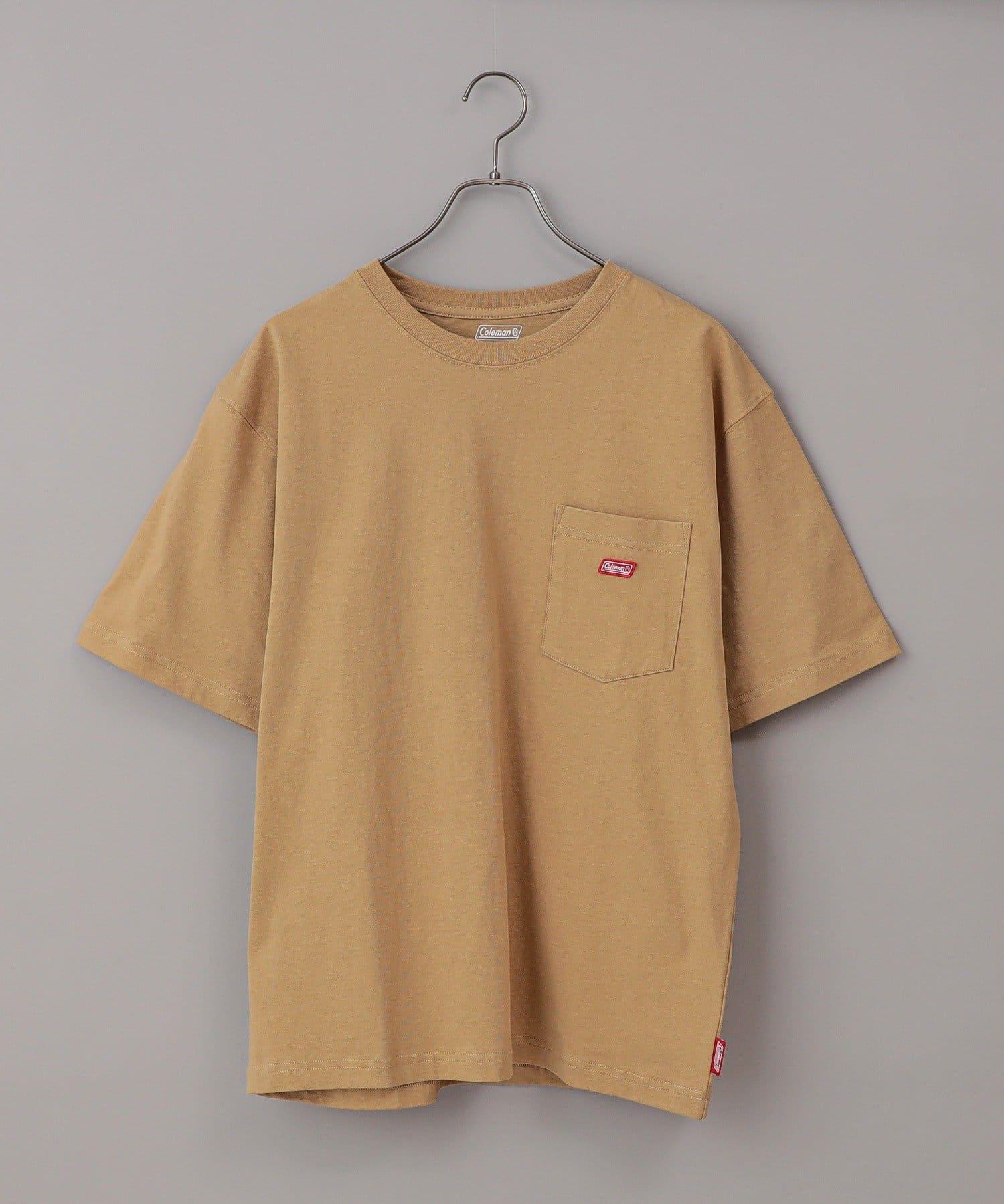 CIAOPANIC(チャオパニック) メンズ 【Coleman/コールマン】ワンポイントロゴクルーネック半袖Tシャツ ベージュ