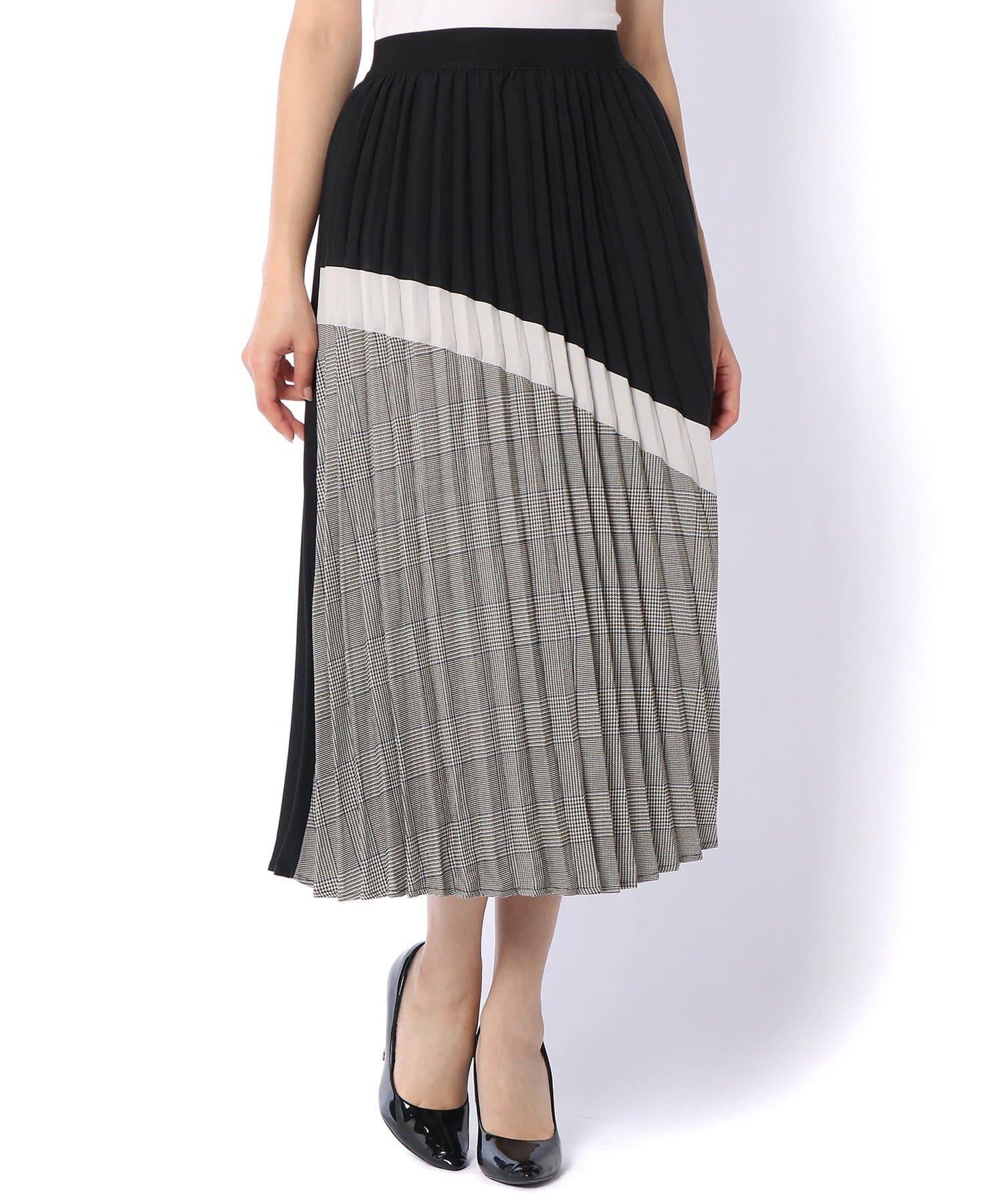 Pal collection(パルコレクション) 《揺れを楽しんで》チェック切替プリーツスカート