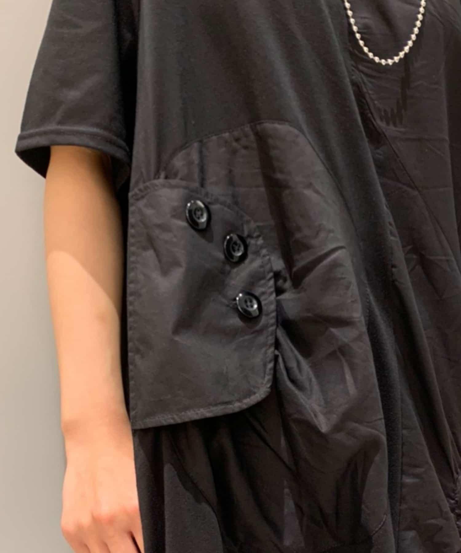 Pal collection(パルコレクション) 《異素材ギャザーが可愛い》ポケット半袖チュニック