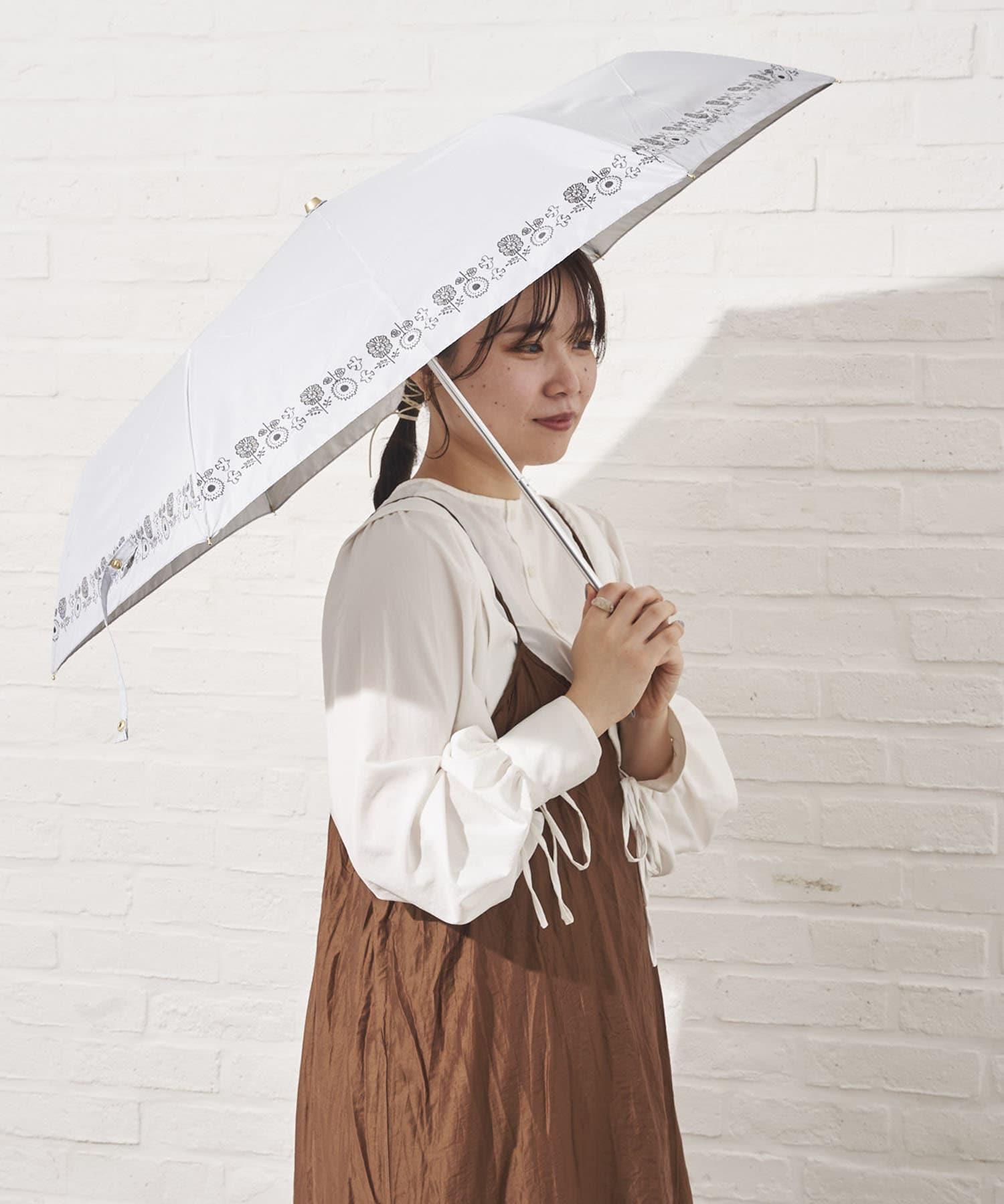 salut!(サリュ) 日傘折り鳥と花(アイボリー)