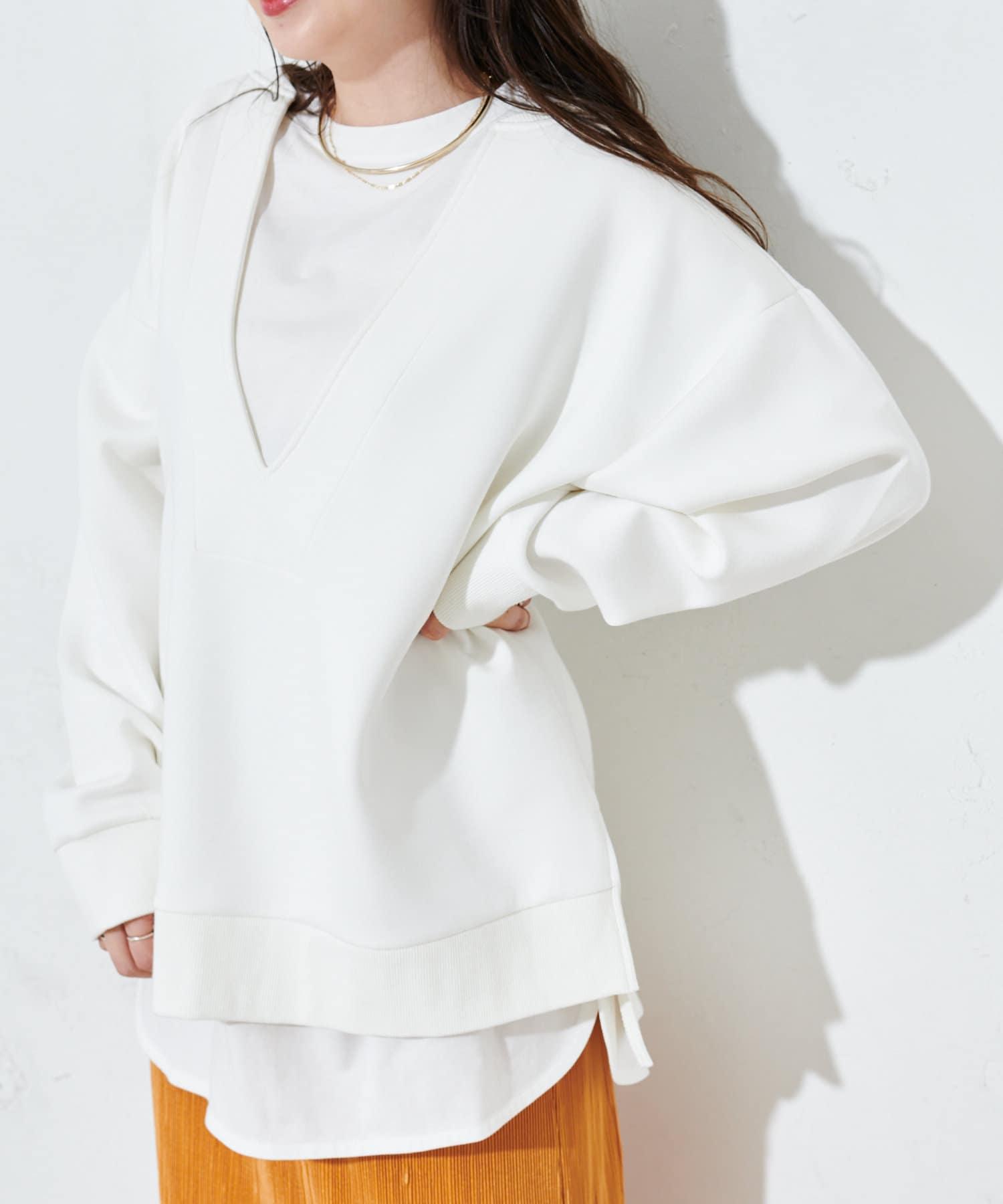 OUTLET(アウトレット) 【Discoat】ダンボール深Vプルオーバー