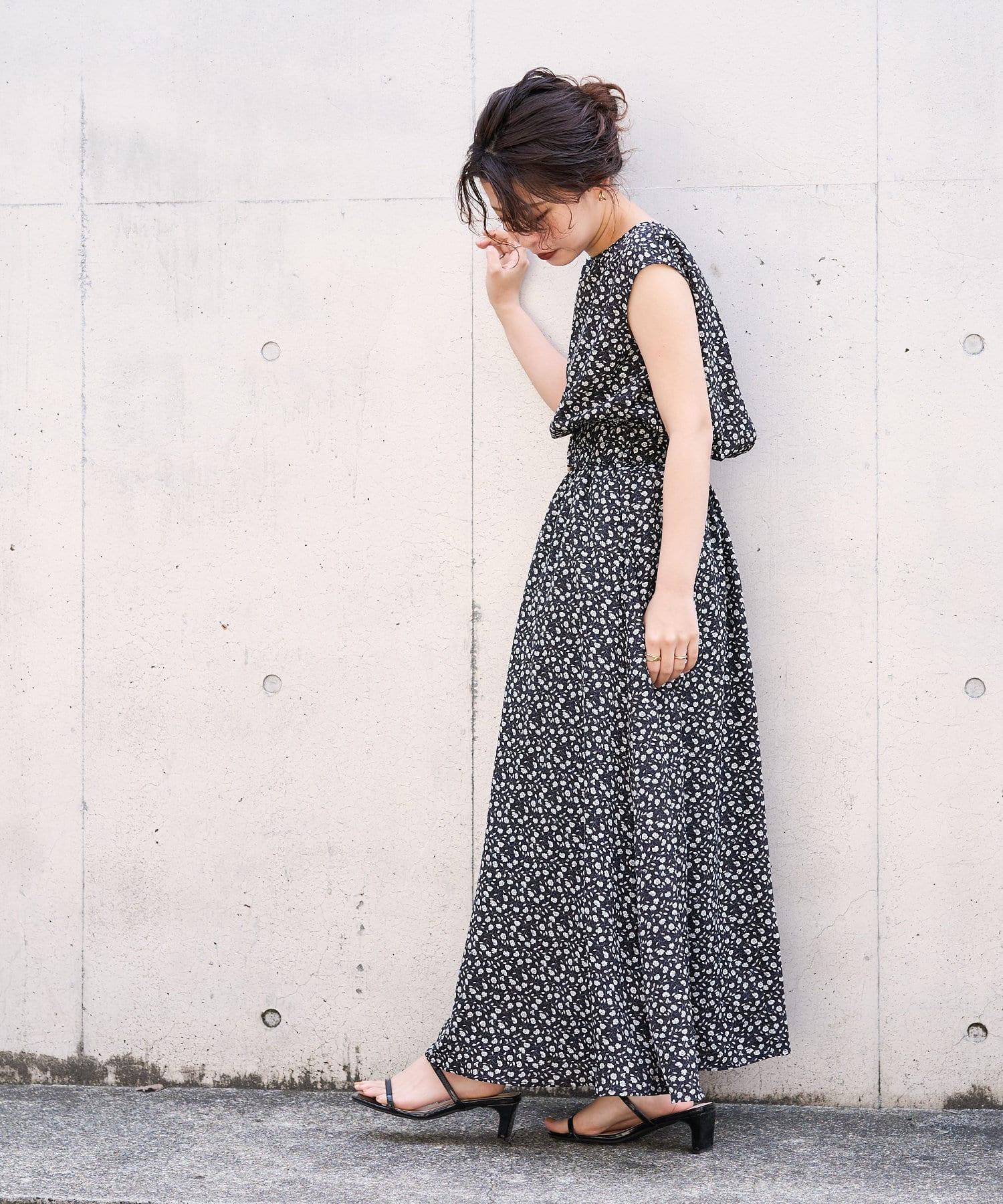 natural couture(ナチュラルクチュール) 【WEB限定カラー有り】べっ甲Dかん太ベルト涼しげワンピース