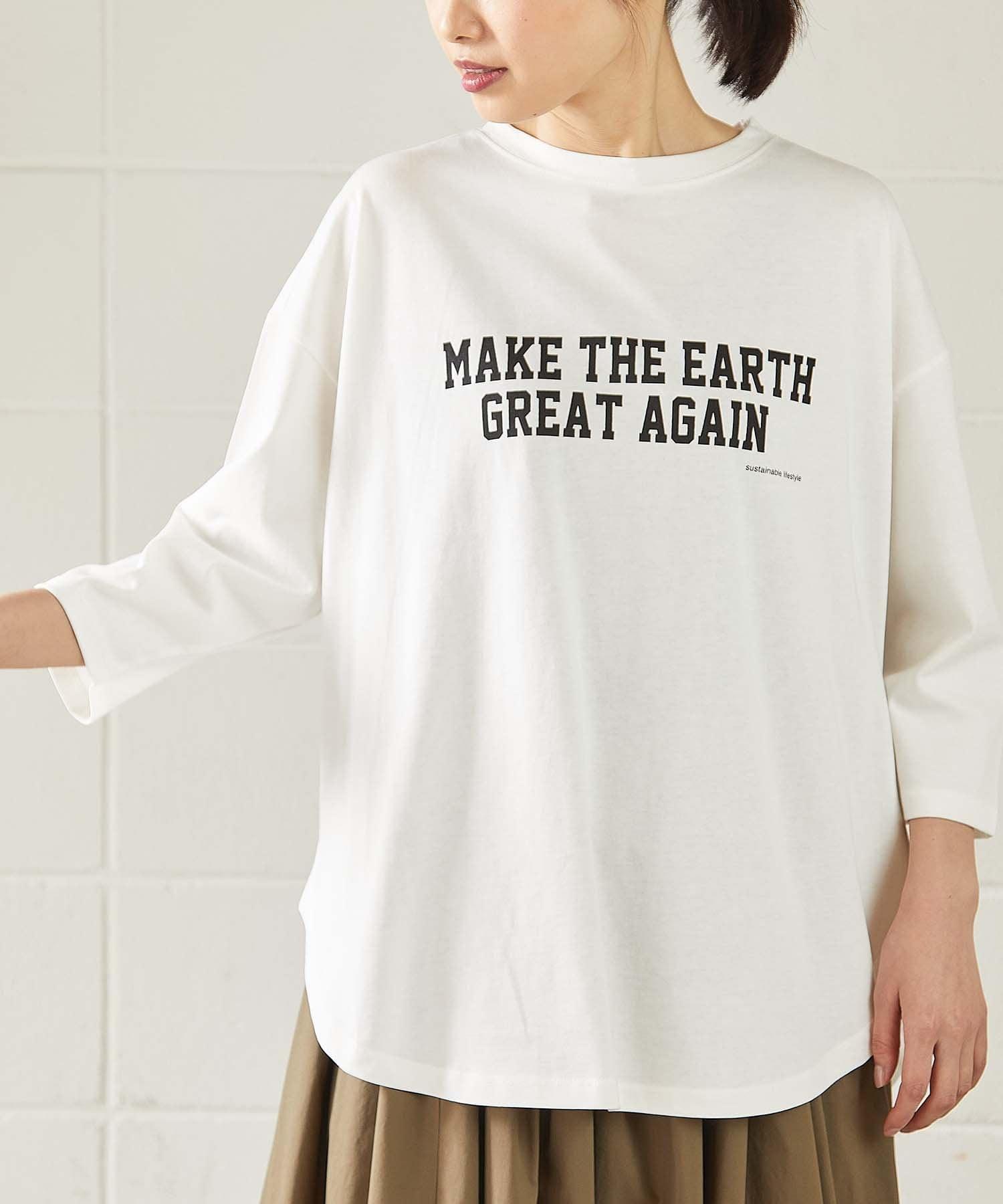 OUVRAGE CLASSE(ウヴラージュクラス) レディース 5分袖ロゴプリントオーバーTシャツ【MAKE THE EARTH】 オフホワイト