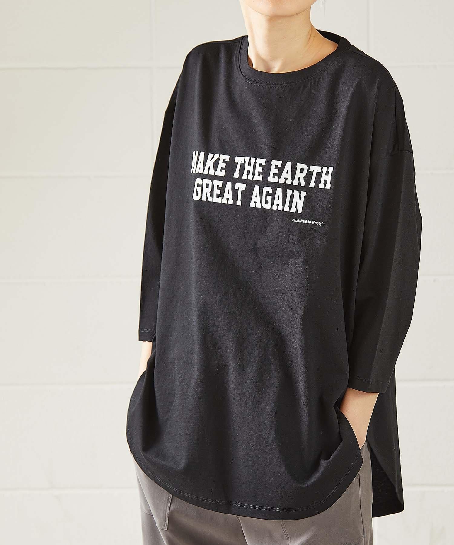 OUVRAGE CLASSE(ウヴラージュクラス) レディース 5分袖ロゴプリントオーバーTシャツ【MAKE THE EARTH】 ブラック