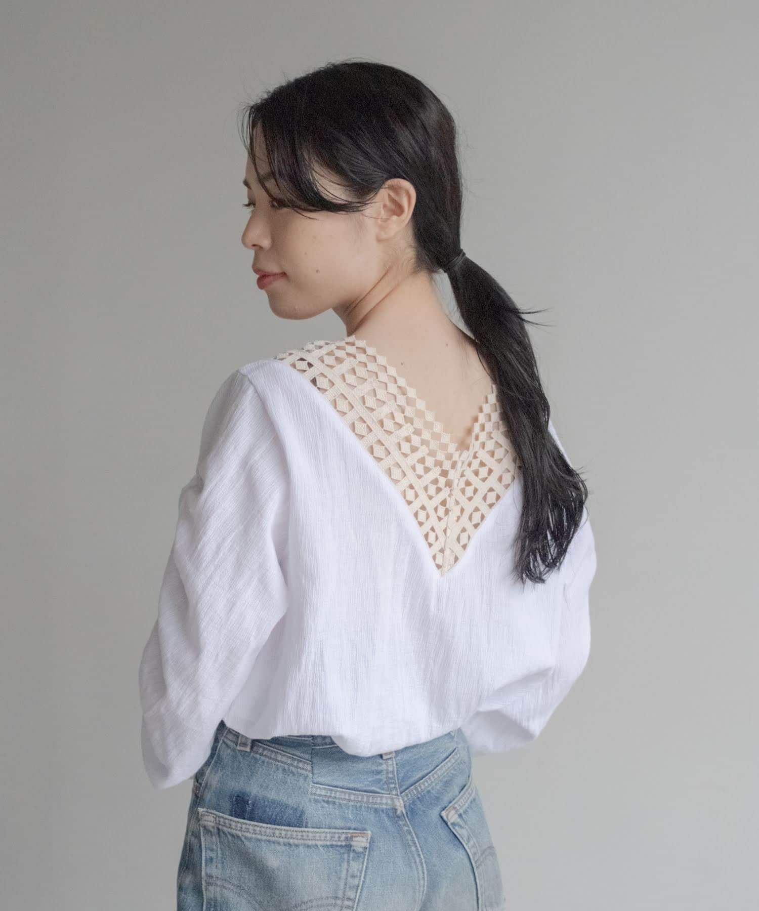 Kastane(カスタネ) 【 ONEME 】 Back lace blouse