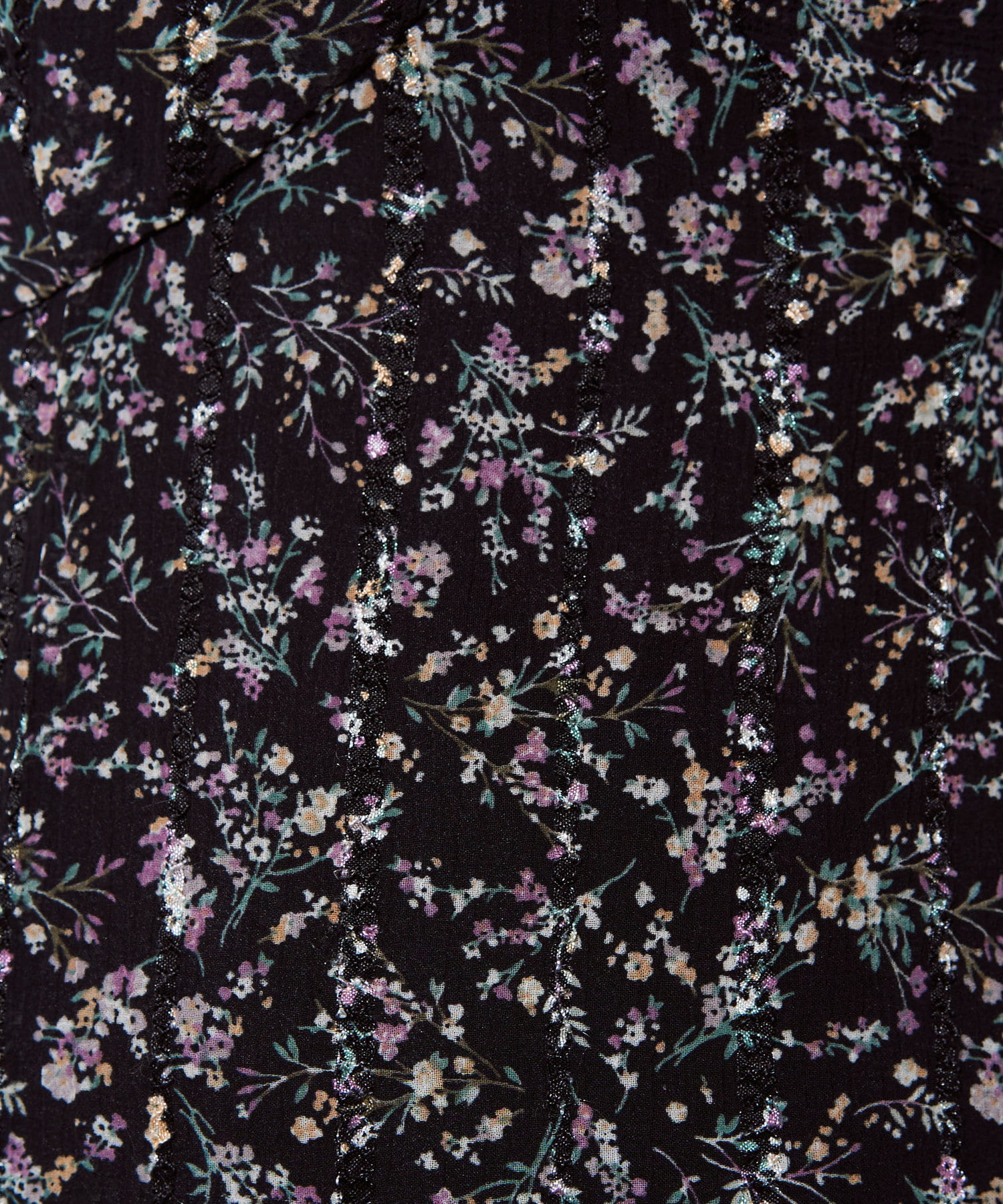 natural couture(ナチュラルクチュール) 【着用動画&解説あり】【WEB限定】ストライプ花柄フリルワンピース