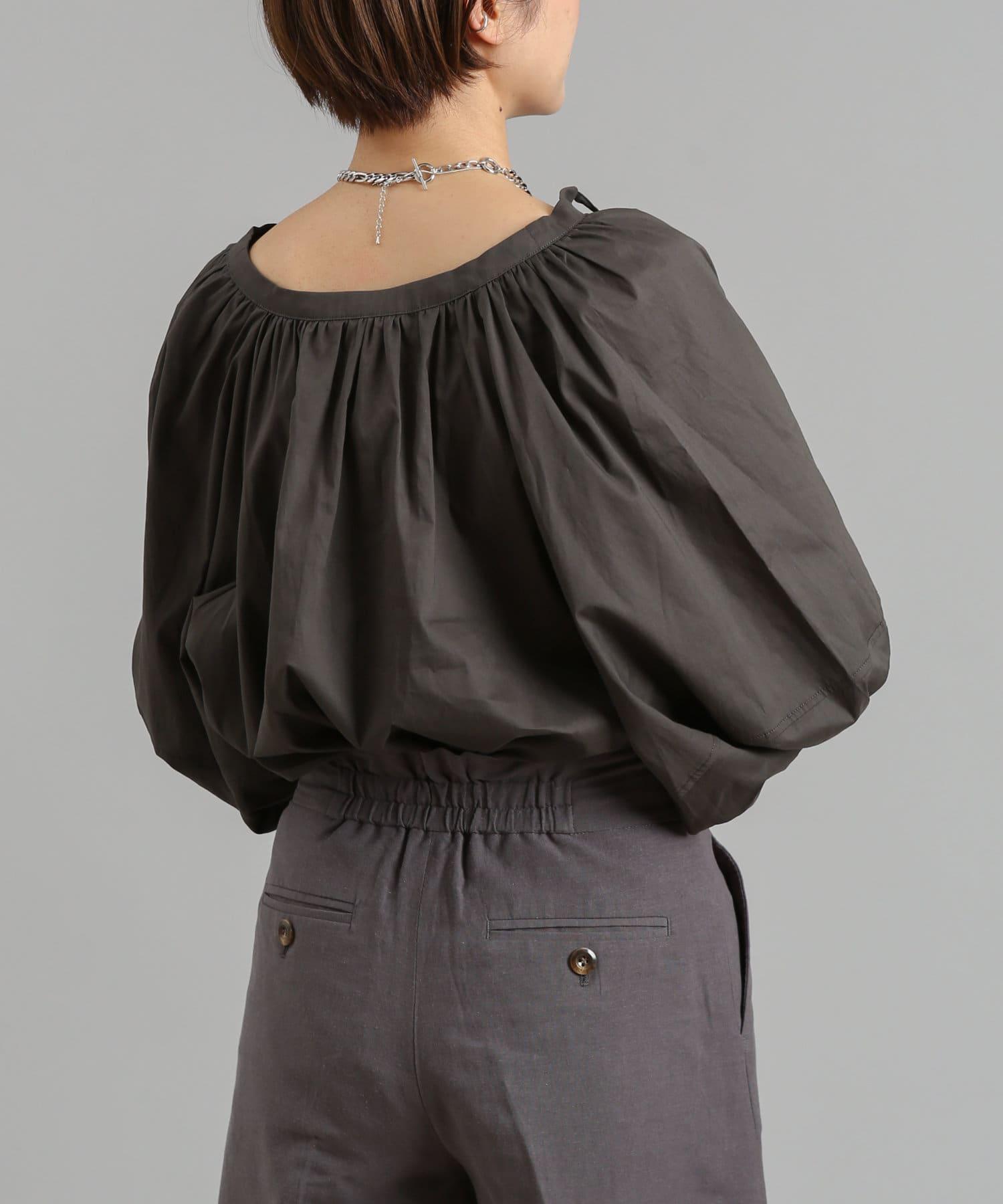 DOUDOU(ドゥドゥ) 袖ボリューム切替5分袖ブラウス