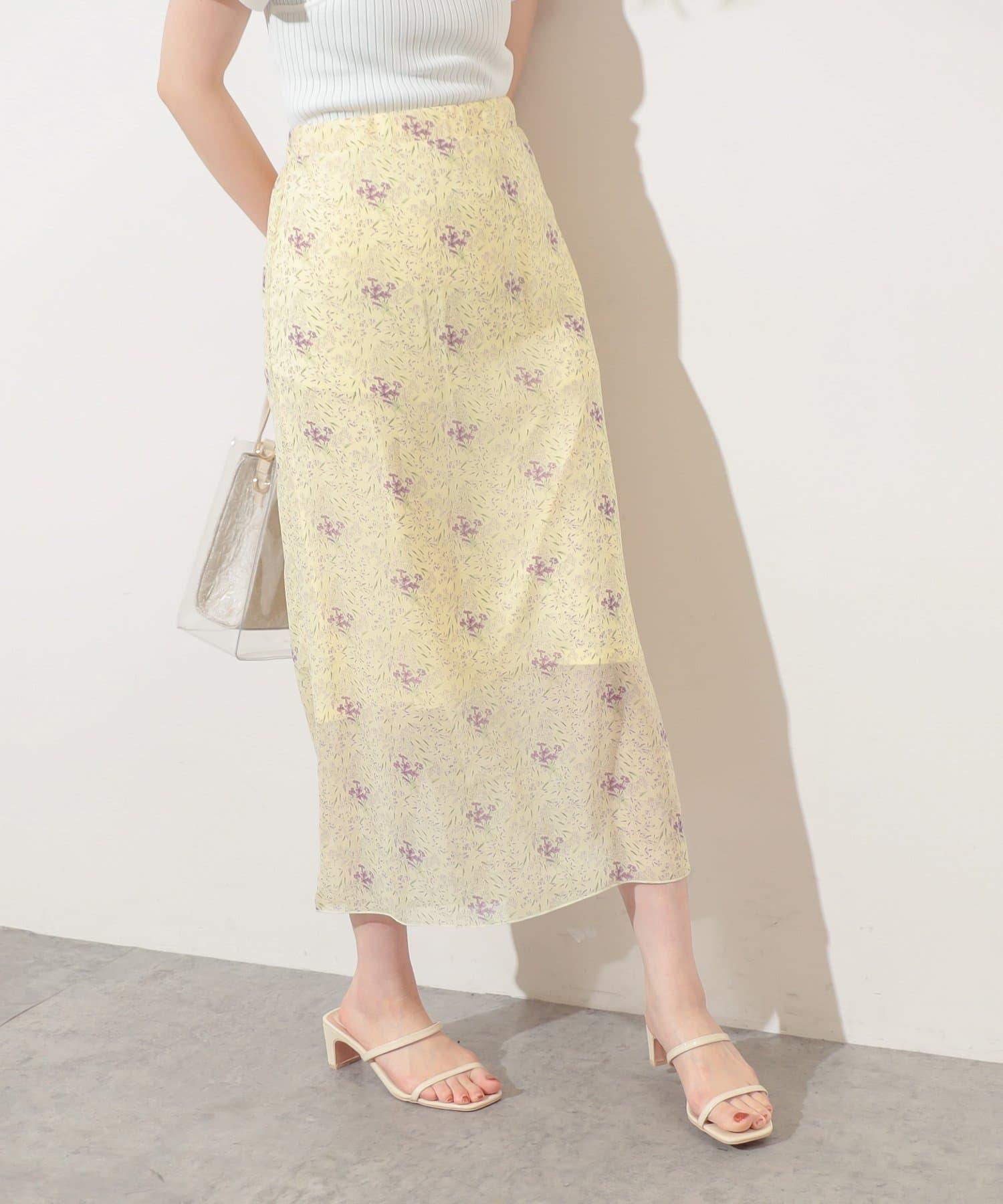 natural couture(ナチュラルクチュール) 【WEB限定】儚げフラワースカート