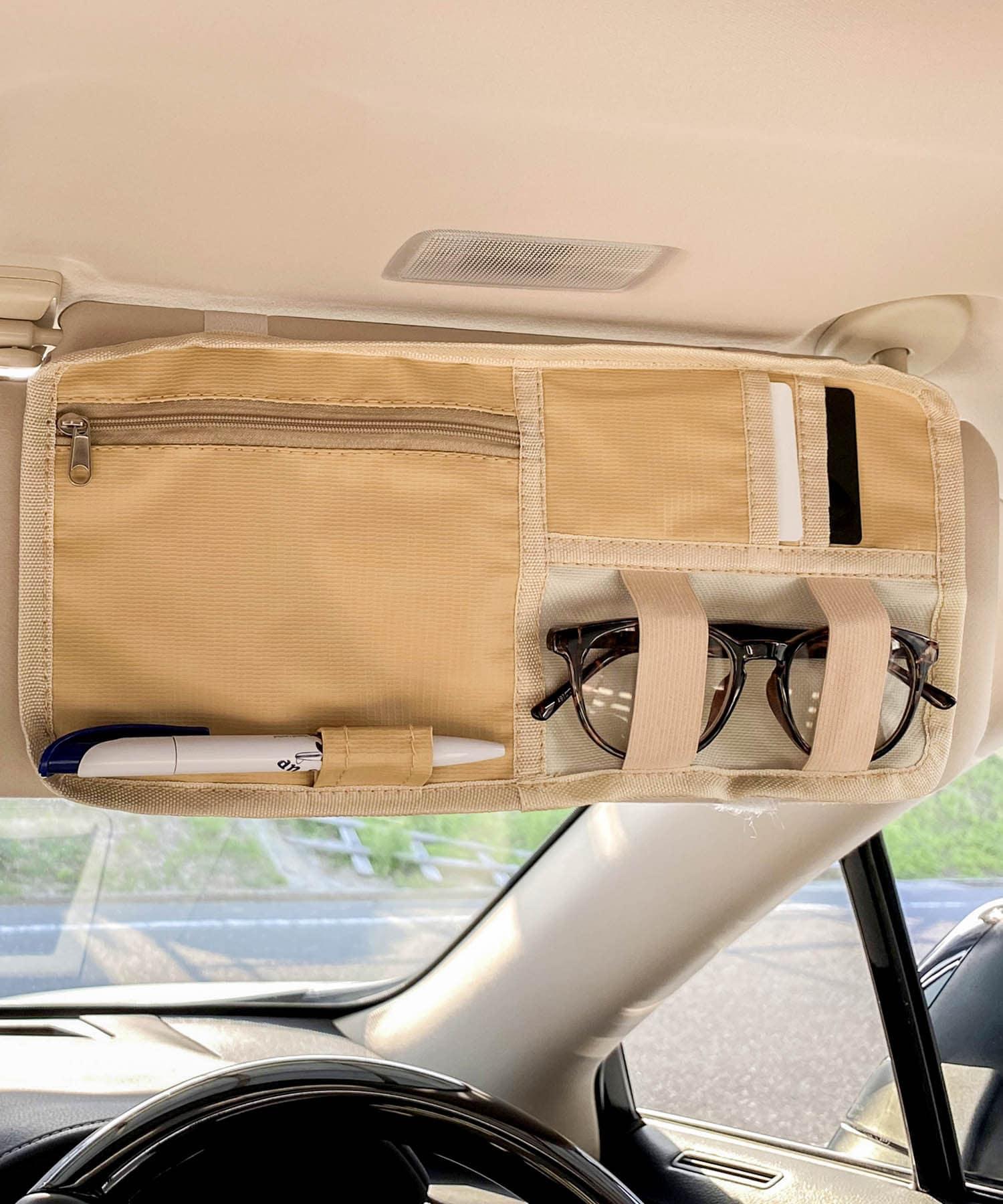 3COINS(スリーコインズ) ライフスタイル 【ドライブを快適に】CARサンバイザーポーチ アイボリー