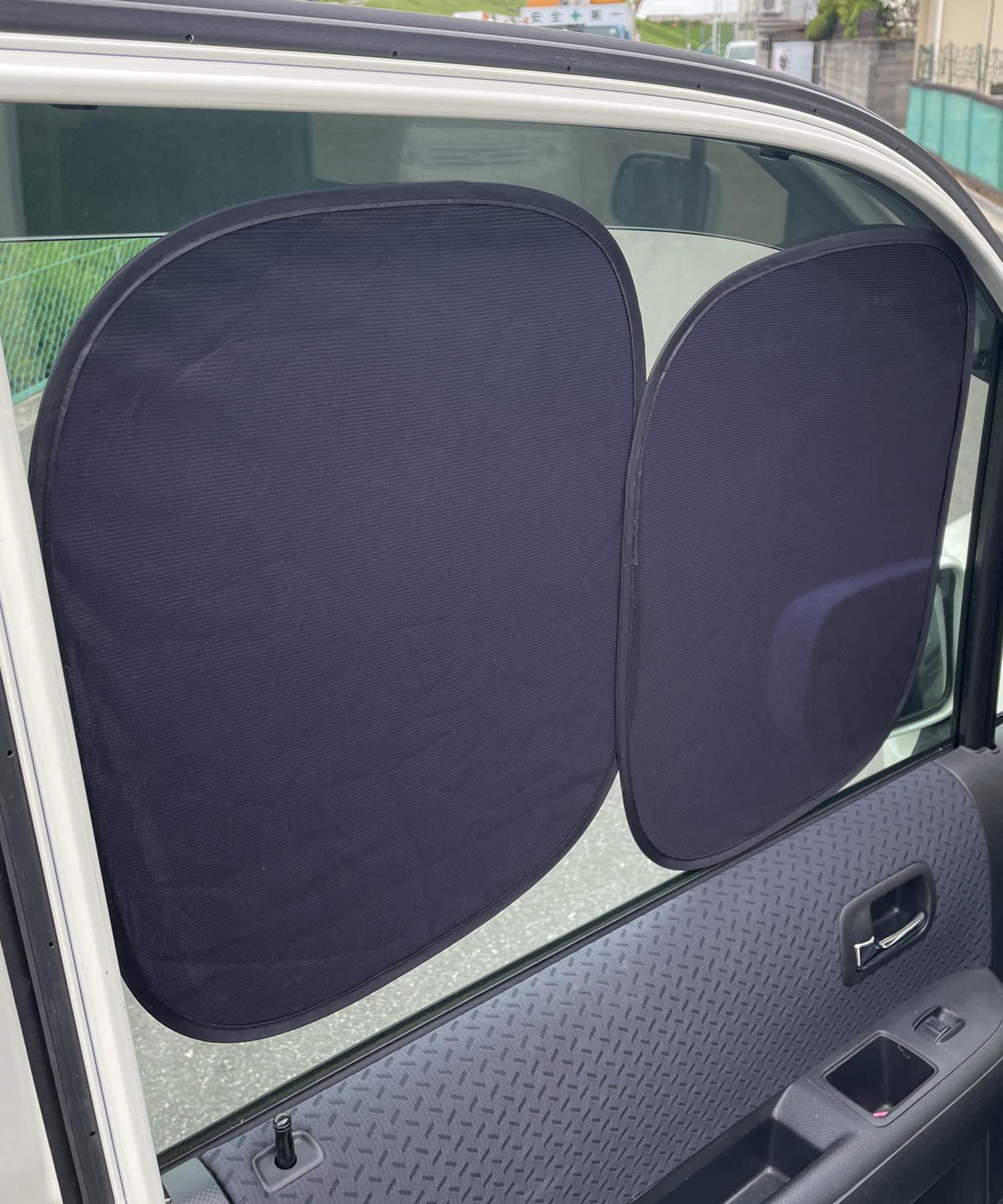 3COINS(スリーコインズ) ライフスタイル 【ドライブを快適に】CAR吸盤のいらないサンシェード2個SET ブラック