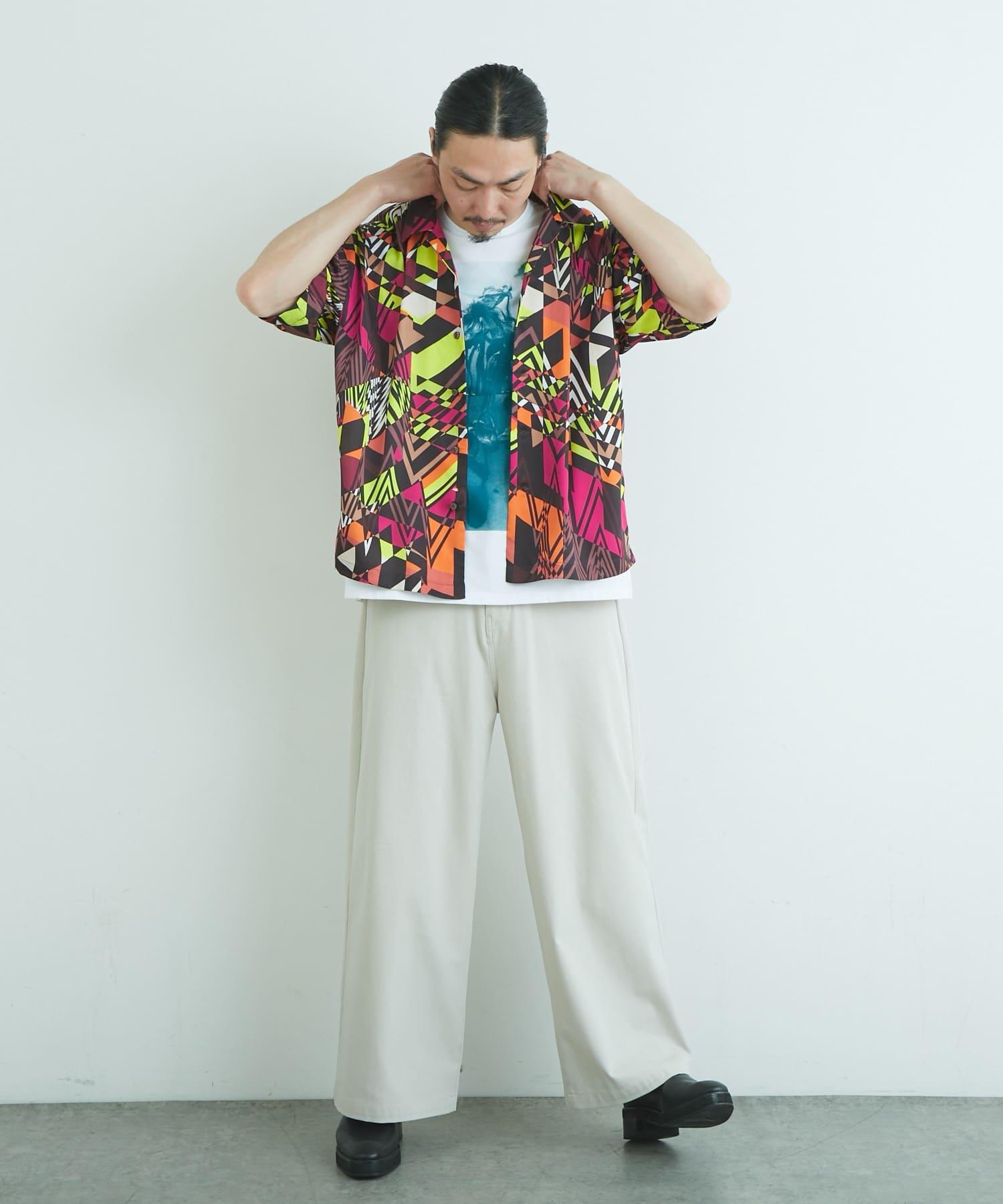 Lui's(ルイス) オリジナル幾何学柄オープンカラーシャツ