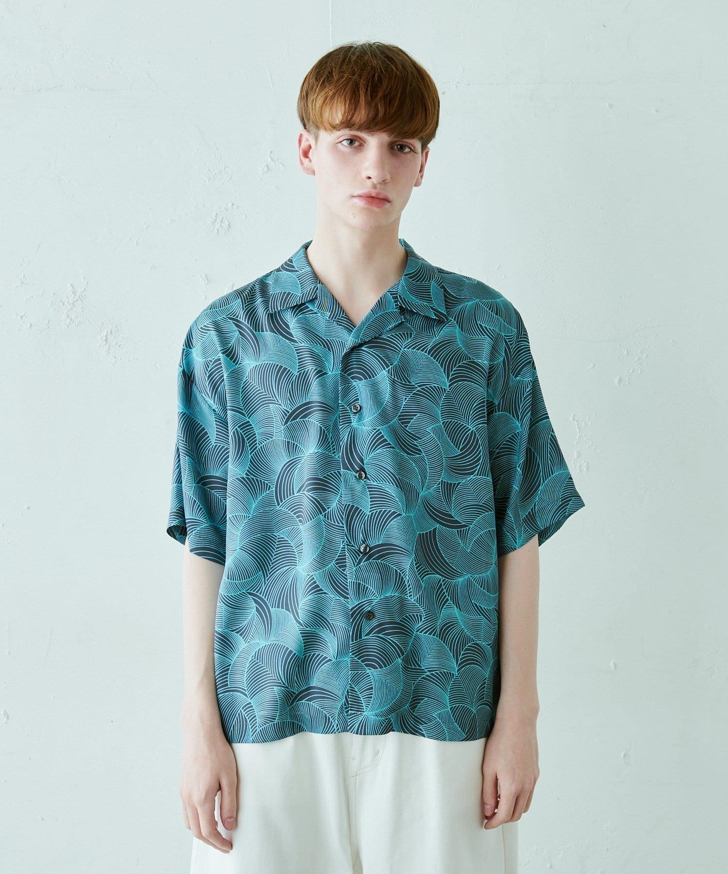 Lui's(ルイス) オリジナルイチョウ柄オープンカラーシャツ