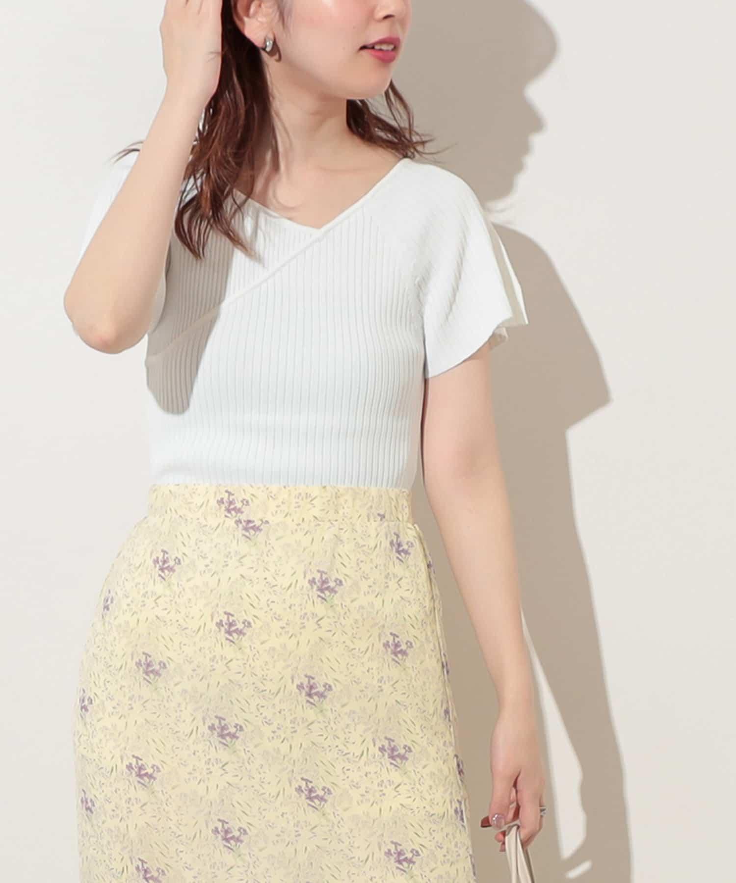 natural couture(ナチュラルクチュール) レディース 【WEB限定】アシメネックフレアスリーブプルオーバー オフホワイト