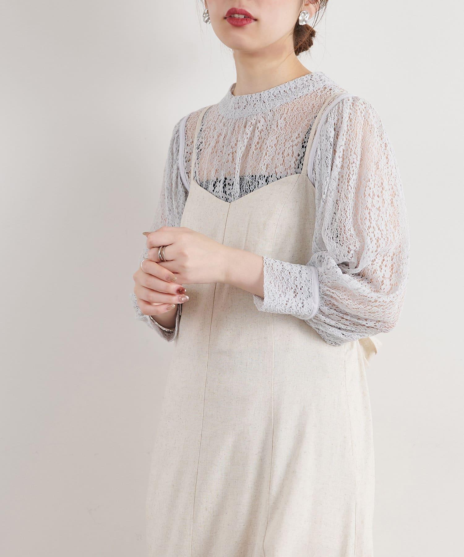 natural couture(ナチュラルクチュール) 【WEB限定カラー有り】トレンディなギャザースリーブレースブラウス